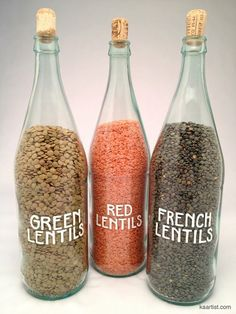 Could easily do this with wine or other glass bottles....... rice..........etc