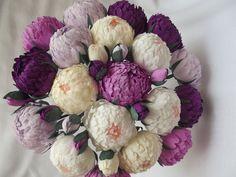 Wedding flowers,wedding bouquet,wedding peonies,paper flower bouquet, purple heather peonies,paper flowers,bridal flower,peonies bouquet,