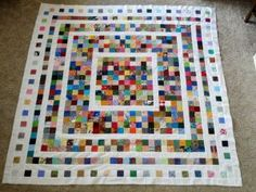 "Fading Charms Quilt @ ""Wedding Dress Blue"" -- Great idea to use up scraps!"