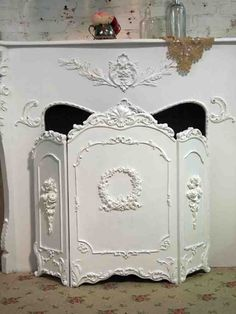 Painted Cottage Chic Shabby White French Fireplace Screen