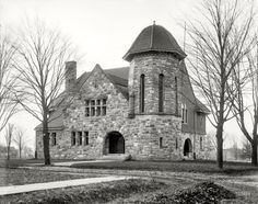 "Ypsilanti, Michigan, circa 1902. ""Starkweather Hall, Students' Christian Association, Michigan State Normal College."" Not far from the Ypsi Water Tower. 8x10 inch glass negative, Detroit Publishing Company."