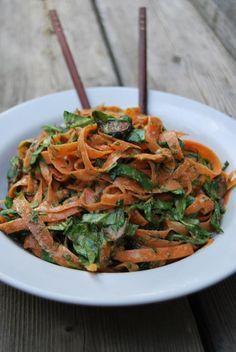 Carrot Ribbon Pasta Bowl with Coconut Almond Satay