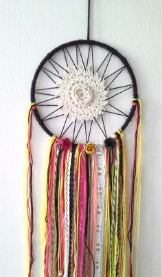 Neon & Black Doily Dreamcatcher. Shimmery Boho. Fuschia Lace. Dorm Decor. OOAK