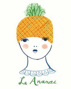 Le Ananas, art print, fruit girl, portrait, french, les fruits frais series, Sarah Walsh