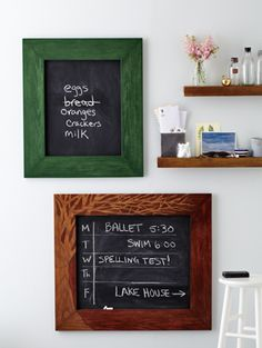 Jil of Let's Be Crafty made these adorable blackboard frames. Get the DIY