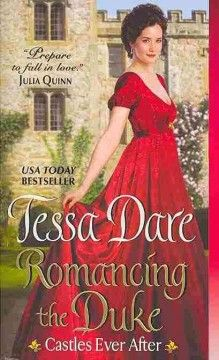 Romancing the duke by Tessa Dare.  Click the cover image to check out or request the romance kindle.