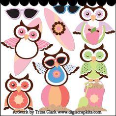 Summer Owls Clip Art