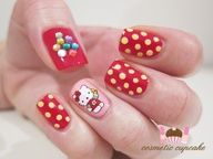 Pretty #Nail Art Design Hello Kitty Random Girly  #Nailart  #hellokitty