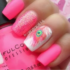 Pink peacock feather finger nail.