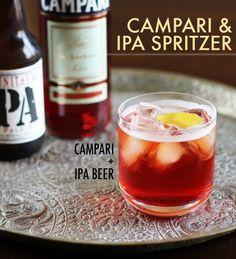 ipa spritzer, beer, cocktail recipes, food, campari