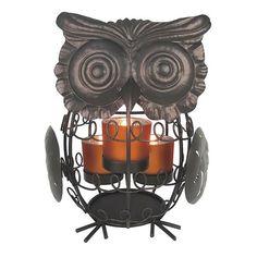 Harvest Owl Metal Tealight Candleholder