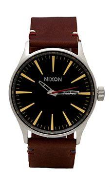 Nixon The Sentry Leather in Black & Brown   REVOLVE