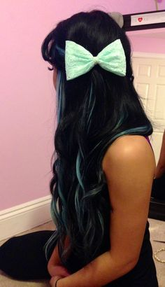 Black hair with blue streaks