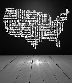 USA Word Cloud, United States of America - Decal, Sticker, Vinyl, Wall, Home, Office, Bedroom Decor