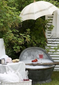 Old fashioned garden bath...with pink champagne!