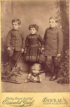 Two brothers and a sister. Photo by Oswald Graf, Kunst Institut, Prussia, 1870s