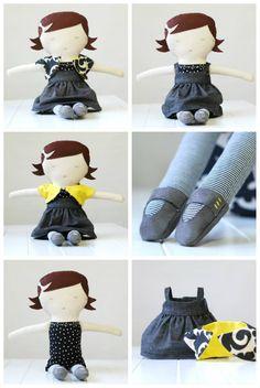 sewing tutorial | KIDS | crafts | handmade gifts | bread bags | fort kits | diy hang tags | saltwater-kids Sew Tutori, Sewing Crafts, Hang Tags, Doll Hair, Fabric Dolls, Handmade Gifts, Sewing Tutorials Baby Doll, Diy, Kid Crafts
