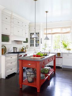 Pop of color kitchen island. Swoon!
