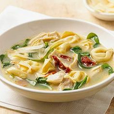 Try this delicious soup recipe that combines Alfredo pasta sauce, baby spinach, chicken, and tortellini. It's ready in under 30 minutes and perfect for weeknight.