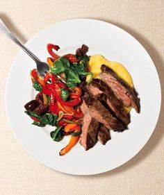 Steak With Peppers and Polenta from realsimple.com #myplate #protein #vegetables