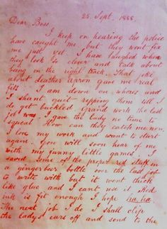 A letter from Jack the Ripper to his boss.