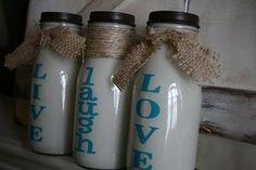 Live laugh love Milk Bottles from Frappucino Bottles frappucino bottl, starbuck bottl, milk bottlesdiy, live laugh