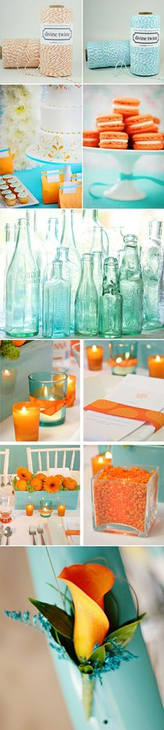 Never thought about these colors---i like them!!! Because it's Teal and Orange and maybe Crys will need a color theme celebration, vow renewal or something. Teal and Orange Wedding Inspiration Board       @VictorandMiriam Morgan
