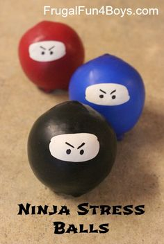 Stress balls made out of balloons and decorated like ninjas. A fun homemade toy!