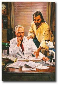 painting by Nathan Greene - I want my Dr. to be under the helping hand of Jesus!