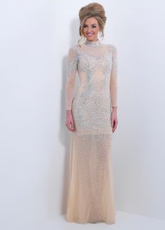Black by Blush C172 - Nude Beaded High Neck Prom Dresses Online
