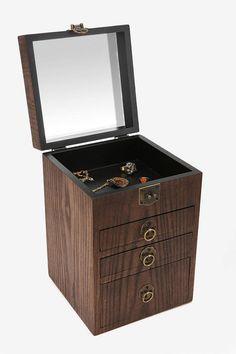 Wood Treasure Chest Jewelry Box