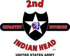 """2ND INFANTRY DIVISON EMBLEM """"INDIAN HEAD"""" WHITE SHIRT (DESIGN ON FRONT)"""