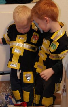 Use duct tape and regular clothes to make a  Firefighter Costume