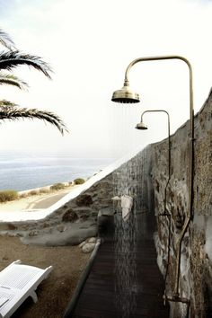 Outdoor shower overlooking the beach