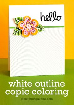 White Outline Copic Coloring Video by Jennifer McGuire Ink