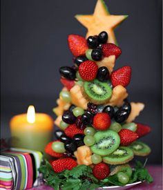 CHRISTMAS TREES MADE WITH FRUIT