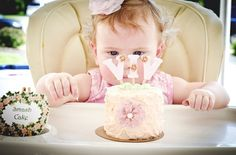 Shabby Chic First Birthday  Love the size of this smash cake for the baby