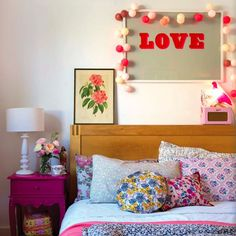 """like the """"Love"""" art with garland for a child's room.  #estella #kids #decor"""