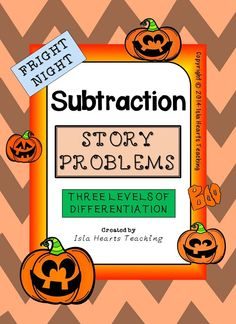 This 40-paged Halloween-themed SUBTRACTION STORY PROBLEM pack is differentiated (three levels) to challenge and engage your students -- whatever their ability level. Simply print the sheets, assemble them in booklets and start using immediately! It makes math centers fun, morning work a breeze and lesson preparation easy!