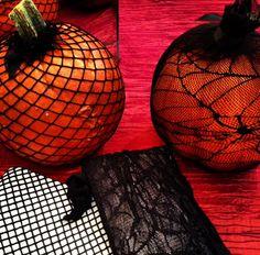 Fishnet-stocking pumpkins