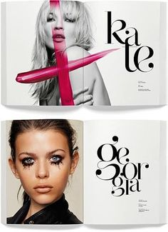editorial typography, graphic design, nice type, editorial design fashion, font, fashion editorials, magazine spreads, print, girl names