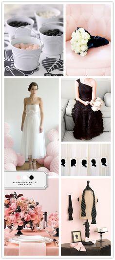 Blush Pink, White, Black