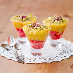 A healthy version of Persian rice pudding with honey glazed rhubarb and strawberries. #foodgawker
