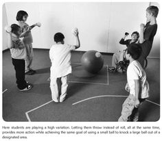 Knock it out!  This activity has variations depending on the students.  Bean bags or small balls are used to throw at a larger ball in the middle.  The goal is to knock it out of a designated area.   This can also be played on teams, where each team has a side and the goal is to not let it cross your line.  A large omnikin ball can be used at the elementary level most effectively.  Source: http://www.humankinetics.com/excerpts/excerpts/physcial-activities-severe-disabilities