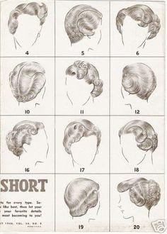 Vintage short hair styling options. #vintage #hair #hairstyles