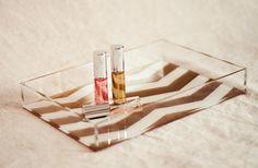 Petite Chevron Stripe Lucite Tray - Gold/White/Pink - tillymaison etsy shop