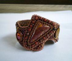 beaded embroidery cuffs bracelets | Bead embroidered bracelet- OOAK -earth colors, ... | Cuff bracelets ...