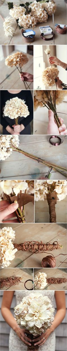 DIY wedding bouquet without using the real flowers.