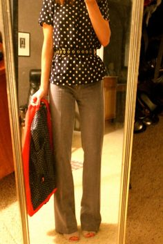 Jcrew polka dot top. cute outfit. Business attire.