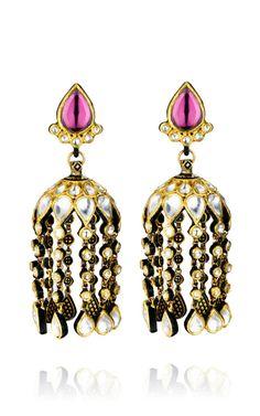 One-Of-A-Kind Waterfall Diamond & Enamel Chandelier Earrings by Madhuri